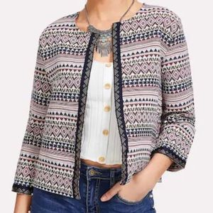 Embroidered Tape Detail Geo Print Jacket Sz S